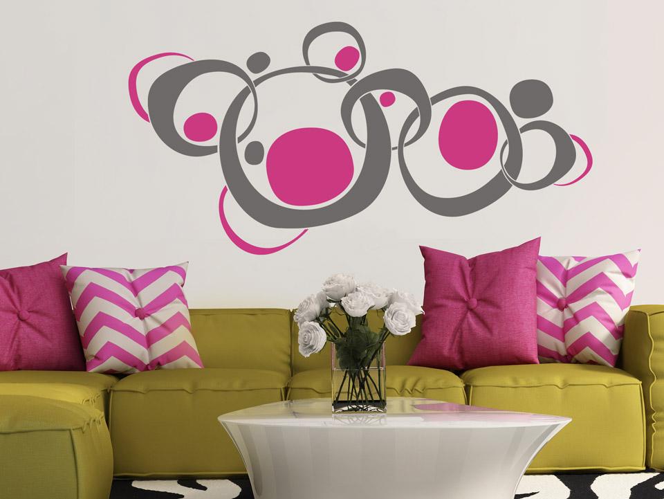 wandtattoo bunte retro kreise. Black Bedroom Furniture Sets. Home Design Ideas