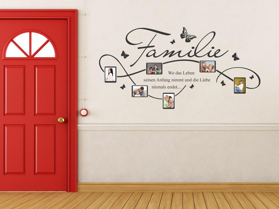 Wandtattoo Rahmen für Familien Fotos mit Familienspruch   Wandtattoo.com
