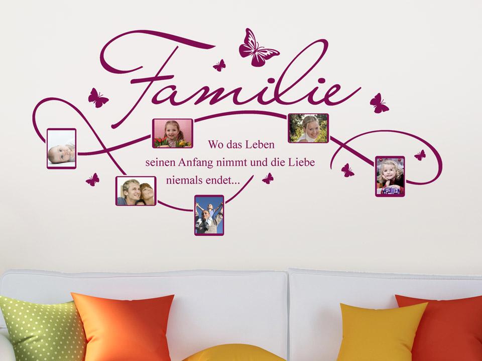 Wandtattoo Rahmen für Familien Fotos mit Familienspruch | Wandtattoo.com