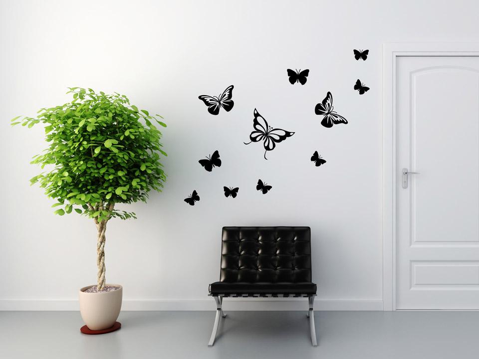 wandtattoo fliegende schmetterlinge. Black Bedroom Furniture Sets. Home Design Ideas