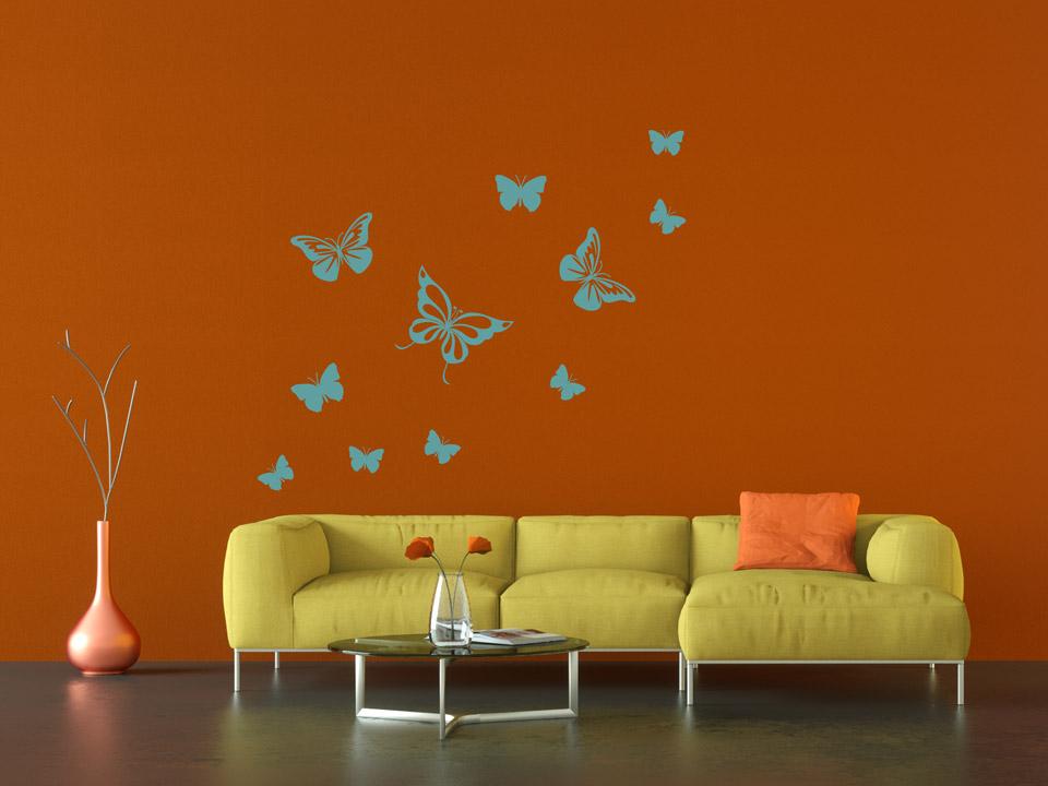 Wandtattoo Set Schmetterlinge Im Wohnzimmer
