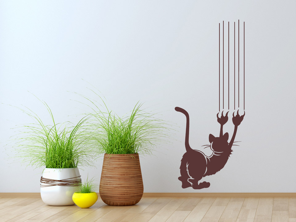 wandtattoo katze mit krallen kratzt an der wand. Black Bedroom Furniture Sets. Home Design Ideas