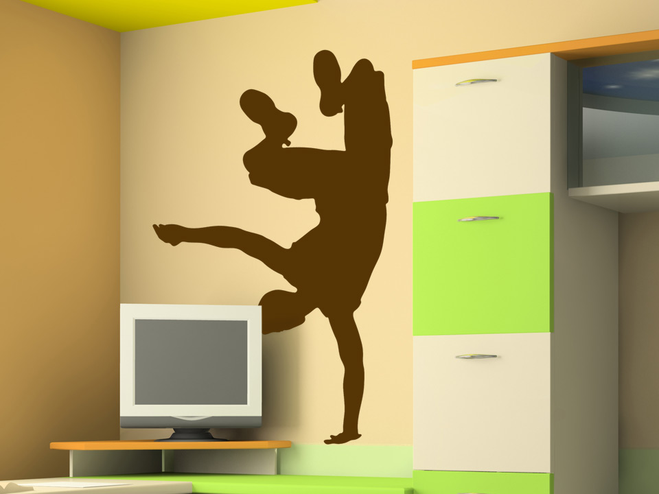 wandtattoo breakdance mit breakdancer im handstand. Black Bedroom Furniture Sets. Home Design Ideas