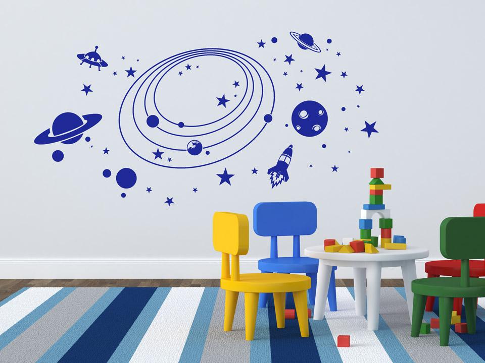 wandtattoo weltraum planeten f rs kinderzimmer mit rakete. Black Bedroom Furniture Sets. Home Design Ideas