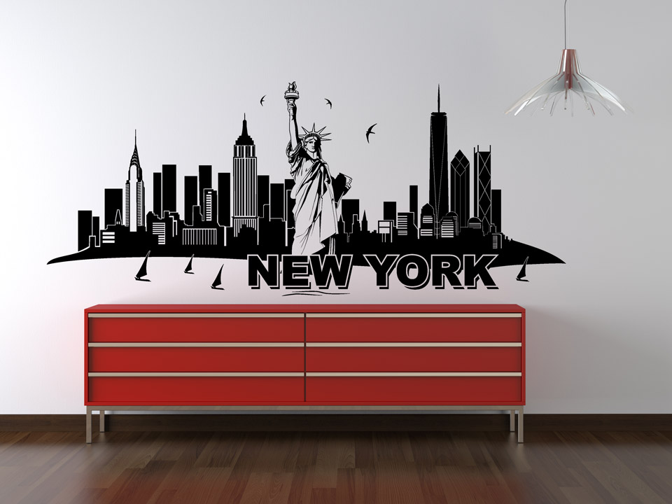 wandtattoo new york skyline mit freiheitsstatue. Black Bedroom Furniture Sets. Home Design Ideas