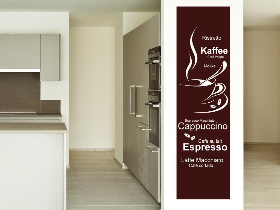 Wandbanner kaffee f r die k che for Wanddesign flur