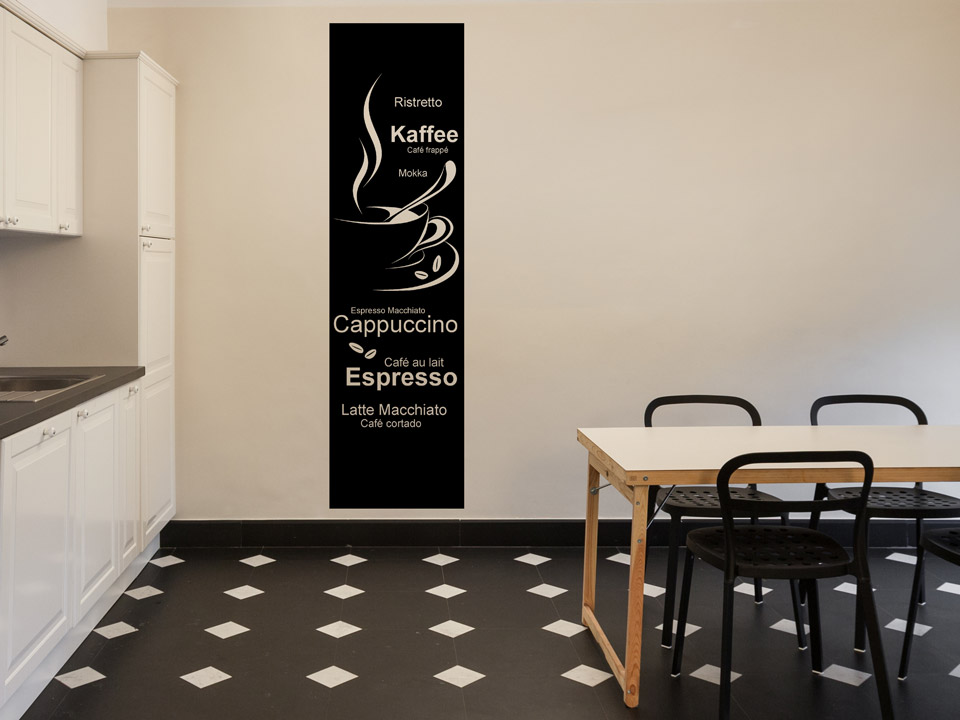 wandbanner kaffee f r die k che. Black Bedroom Furniture Sets. Home Design Ideas