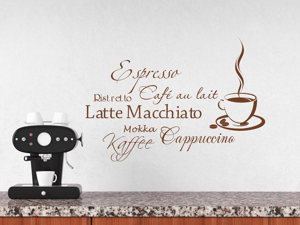 Wandtattoo Wortwolke Kaffee mit Kaffeesorten | Wandtattoo.com