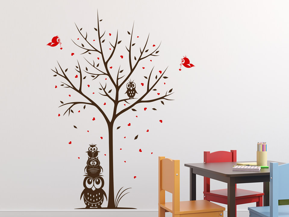 wandtattoo zweifarbiger baum mit eulen f r kinder. Black Bedroom Furniture Sets. Home Design Ideas