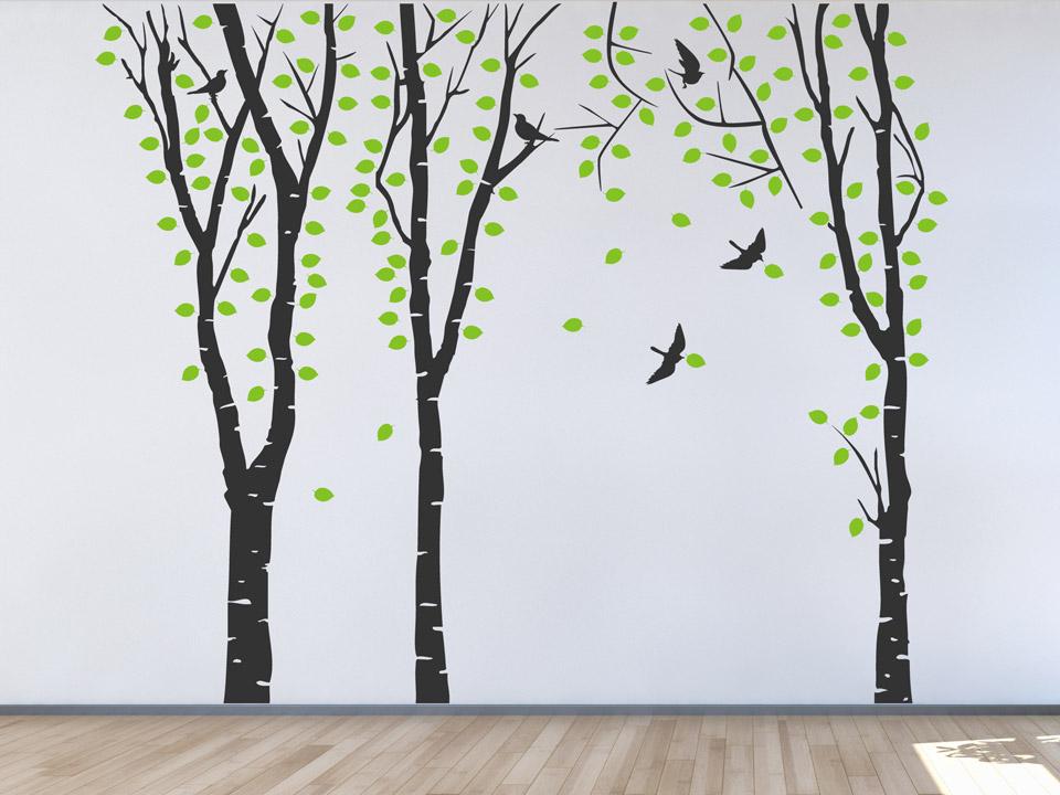 wandtattoo zweifarbiger birkenwald - Wandtattoo Wohnzimmer Grun