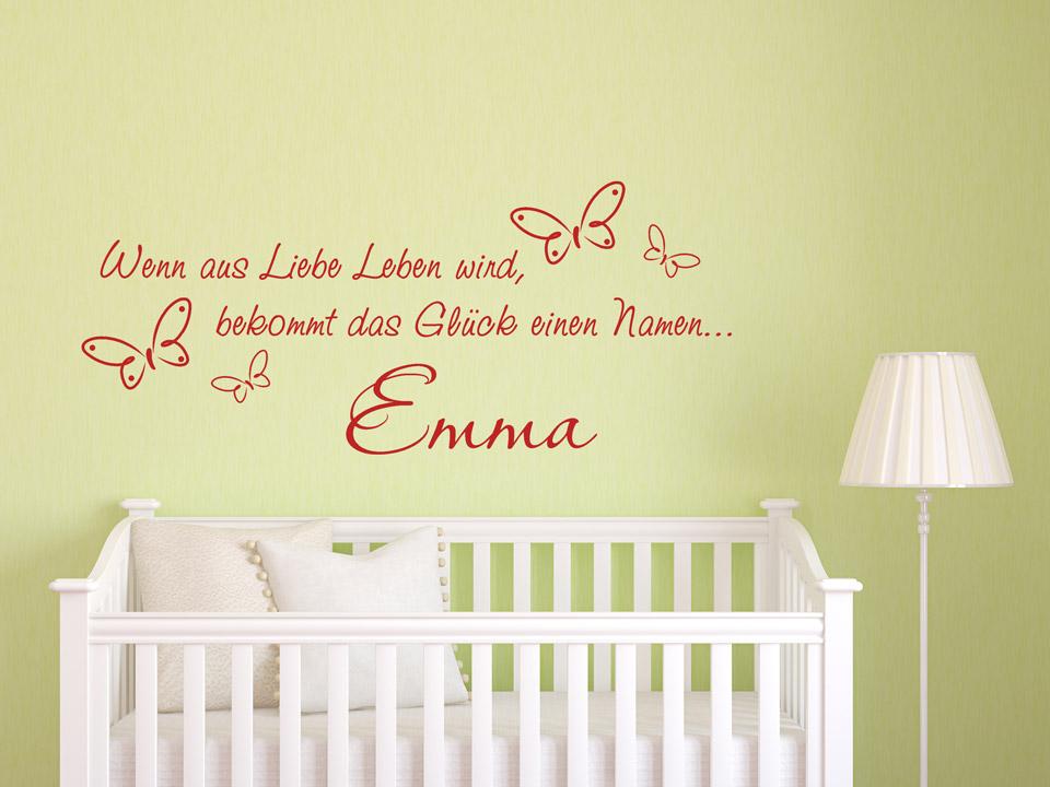 Baby Wandtattoo Spruch Das Glück Hat Einen Namen In Rot. Baby Wandtattoo  Spruch Das Glück Hat Einen.