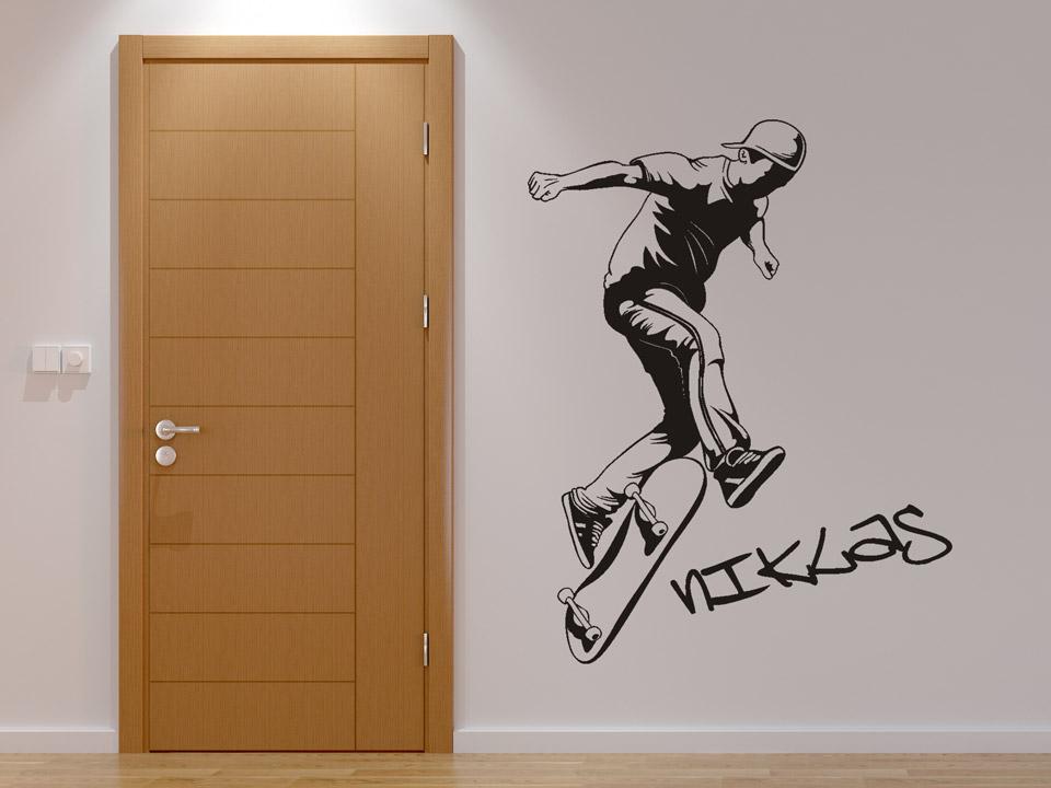 wandtattoo street skater mit name und skateboard. Black Bedroom Furniture Sets. Home Design Ideas