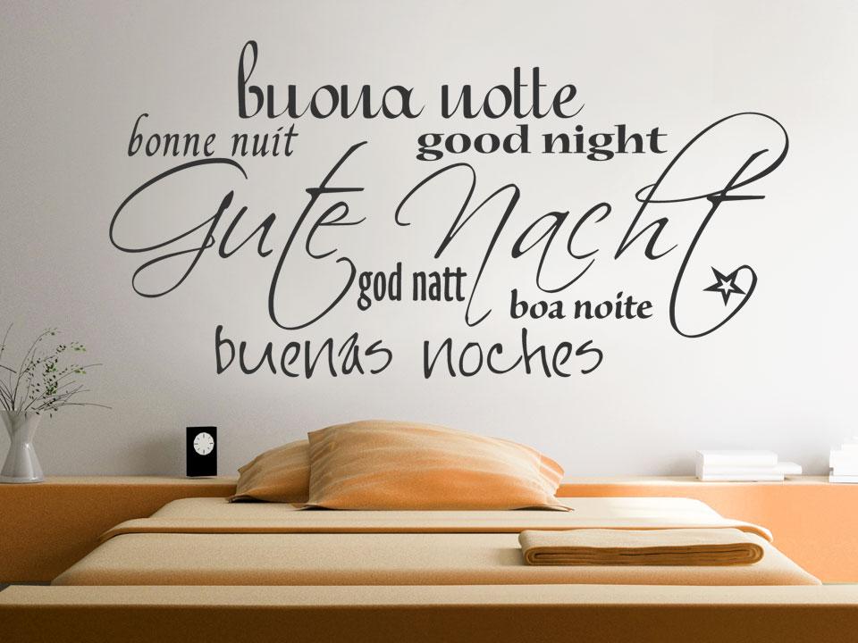 wandtattoo gute nacht verschiedene sprachen. Black Bedroom Furniture Sets. Home Design Ideas