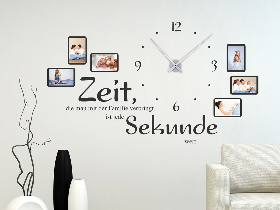 wandtattoo uhr zeit die man mit der familie verbringt. Black Bedroom Furniture Sets. Home Design Ideas