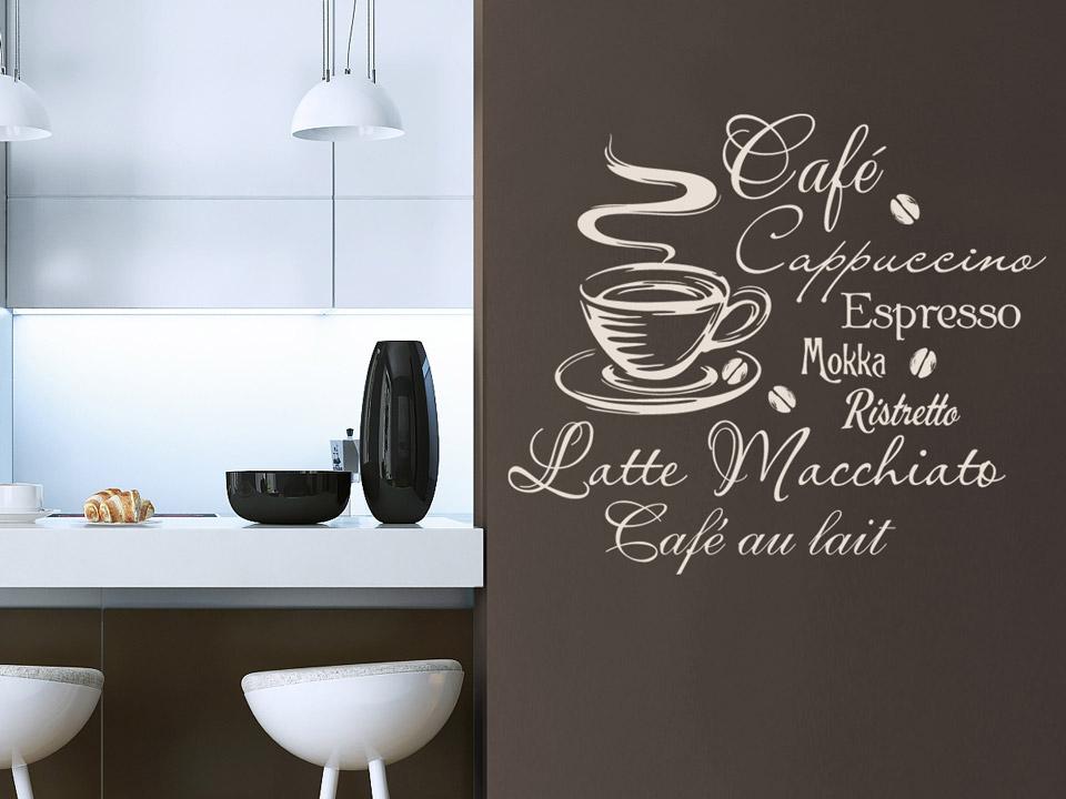 wandtattoo kaffee begriffe mit tasse auf einer braunen wand wandtattoo kaffee begriffe mit tasse auf einer
