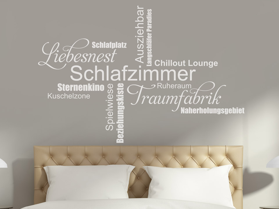 wandtattoo schlafzimmer worte f rs liebesnest. Black Bedroom Furniture Sets. Home Design Ideas