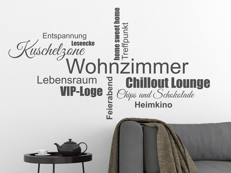 wandtattoo wohnzimmer begriffe als wordwolke. Black Bedroom Furniture Sets. Home Design Ideas