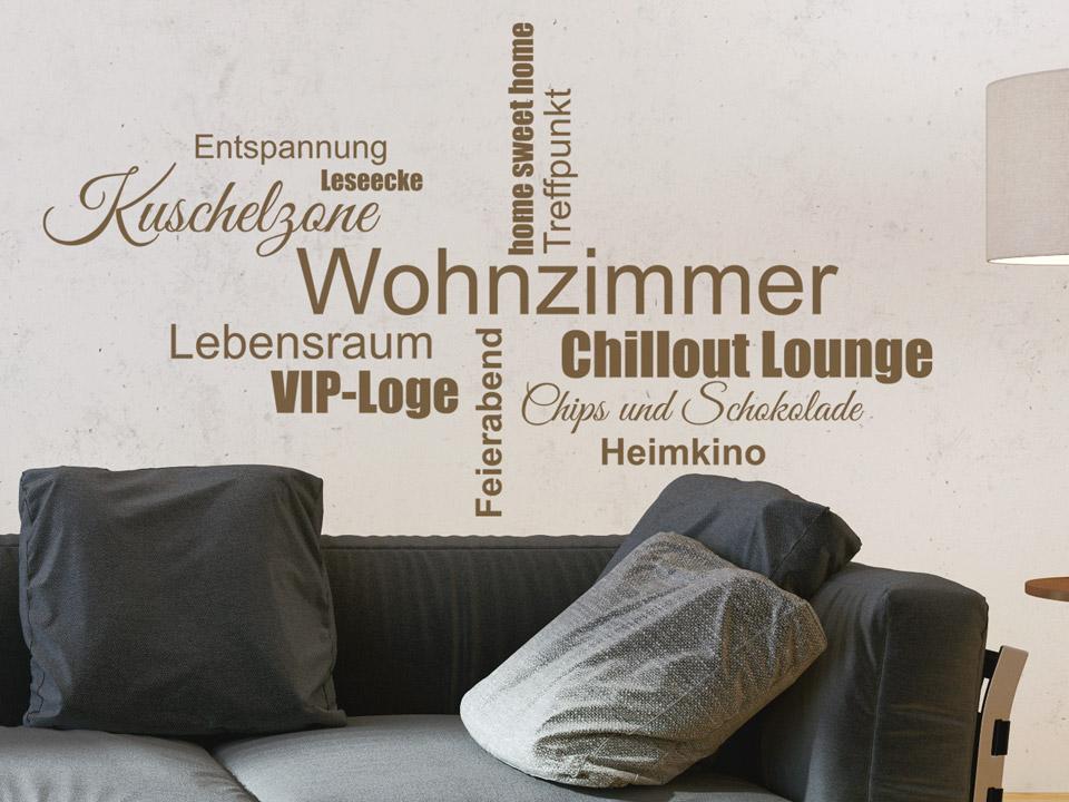 Wandtattoo Wohnzimmer Begriffe als Wordwolke | Wandtattoo.com