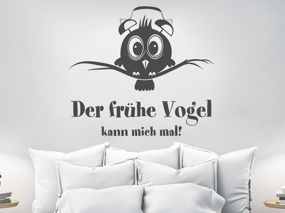 Wandtattoo Der Frühe Vogel Mit Wecker