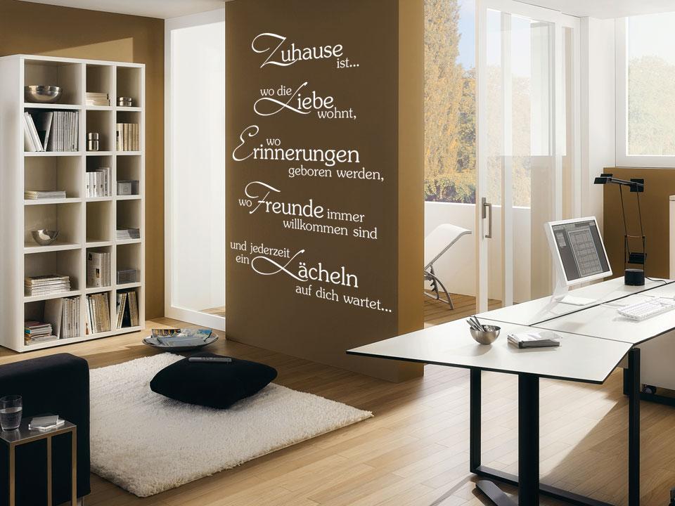 wandtattoo zuhause ist wo die liebe wohnt wo erinnerungen. Black Bedroom Furniture Sets. Home Design Ideas