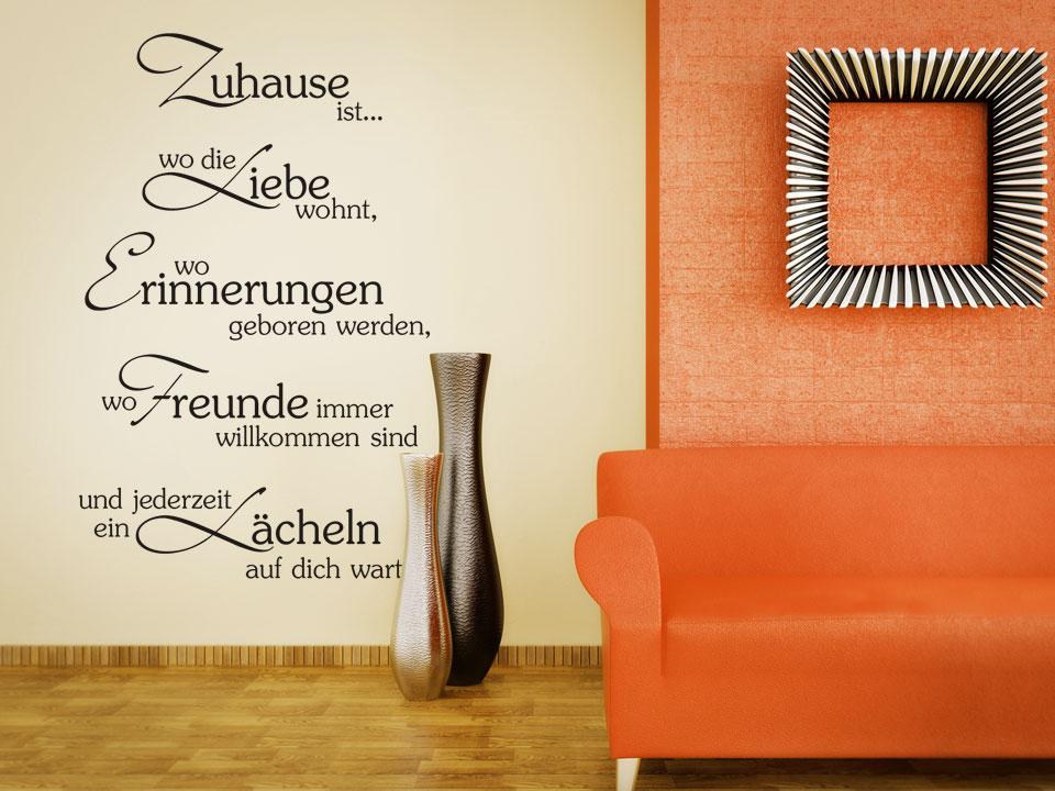wandtattoo zuhause ist wo die liebe wohnt wo erinnerungen geboren werden. Black Bedroom Furniture Sets. Home Design Ideas