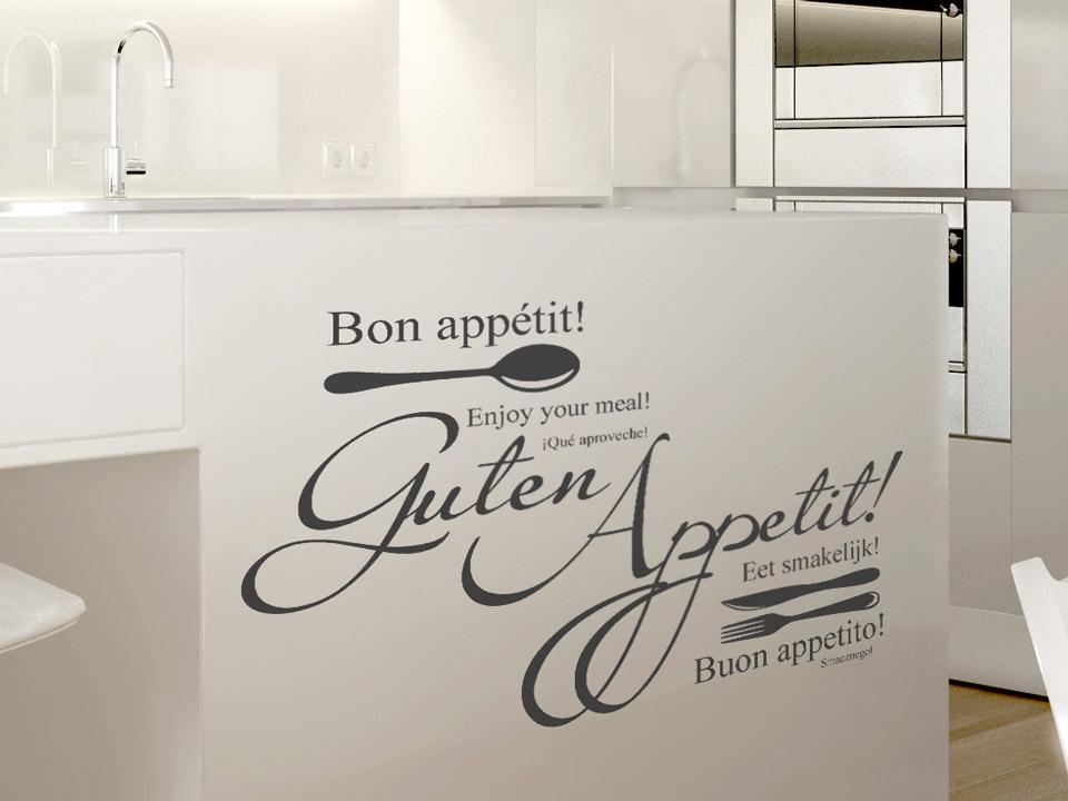Kücheninsel An Wand ~ wandtattoo guten appetit verschiedene sprachen mit besteck