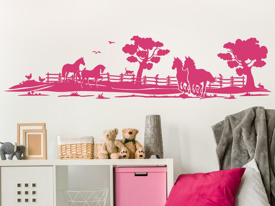 wandtattoo pferde auf der weide f rs kinderzimmer. Black Bedroom Furniture Sets. Home Design Ideas
