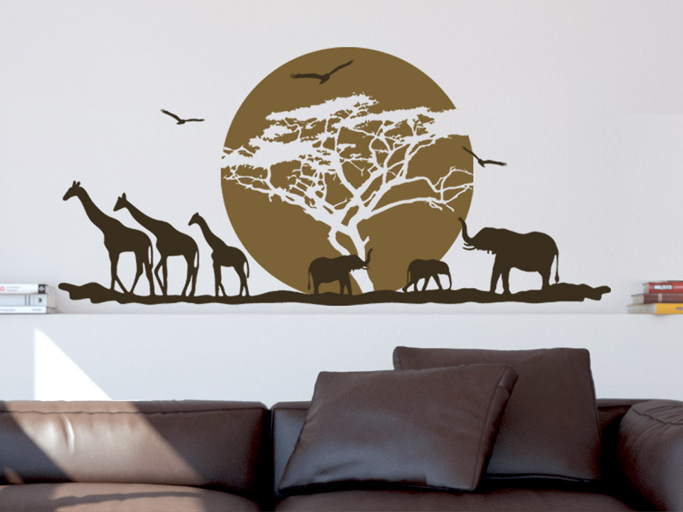wandtattoo sonnenuntergang in afrika. Black Bedroom Furniture Sets. Home Design Ideas