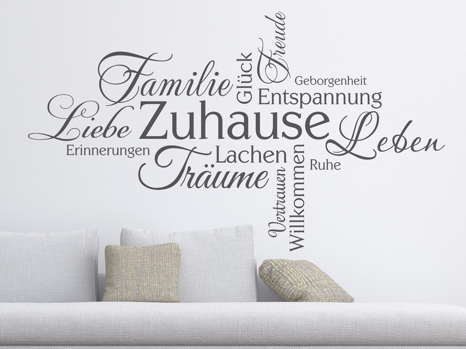 wandtattoo zuhause worte familie liebe gl ck. Black Bedroom Furniture Sets. Home Design Ideas