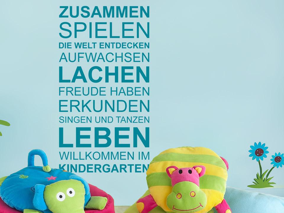 Wandtattoo willkommen im kindergarten f r kitas - Wandgestaltung kinder ...