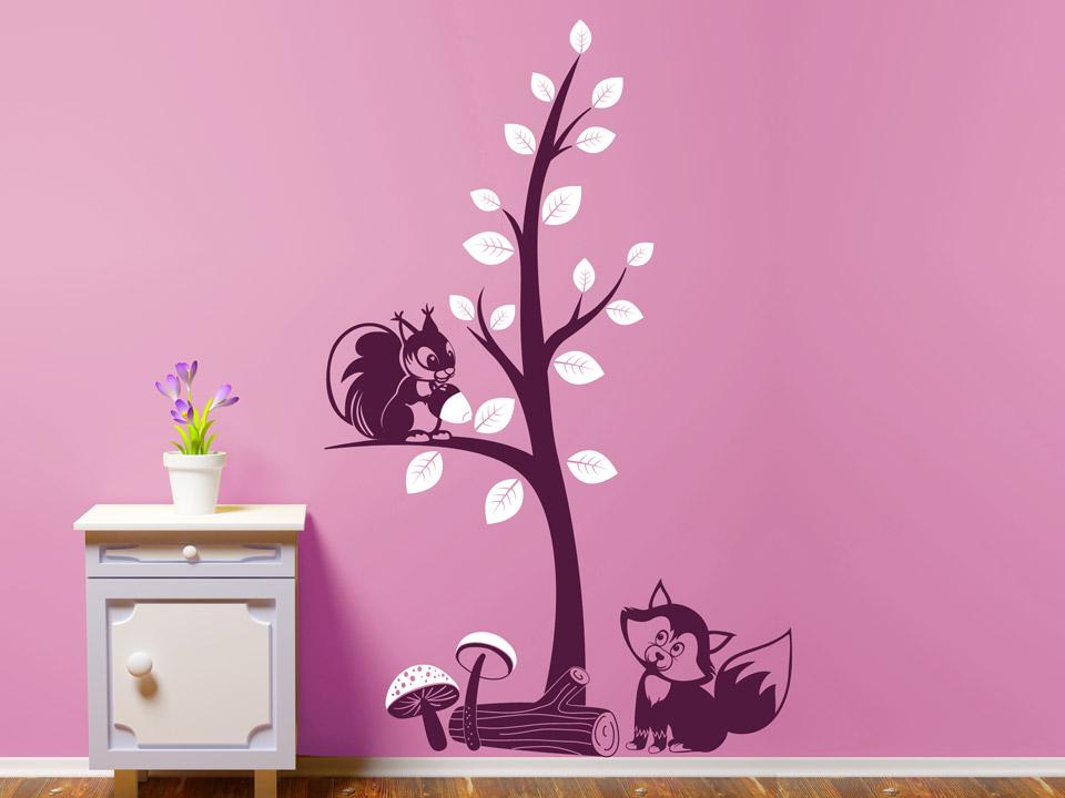 Kinderzimmer wandgestaltung wald  Wandtattoo Fuchs und Eichhörnchen im Wald | Wandtattoo.com
