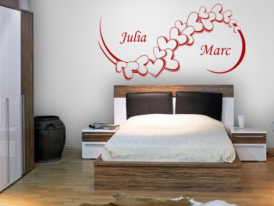 wandtattoo herzornament mit wunschnamen. Black Bedroom Furniture Sets. Home Design Ideas