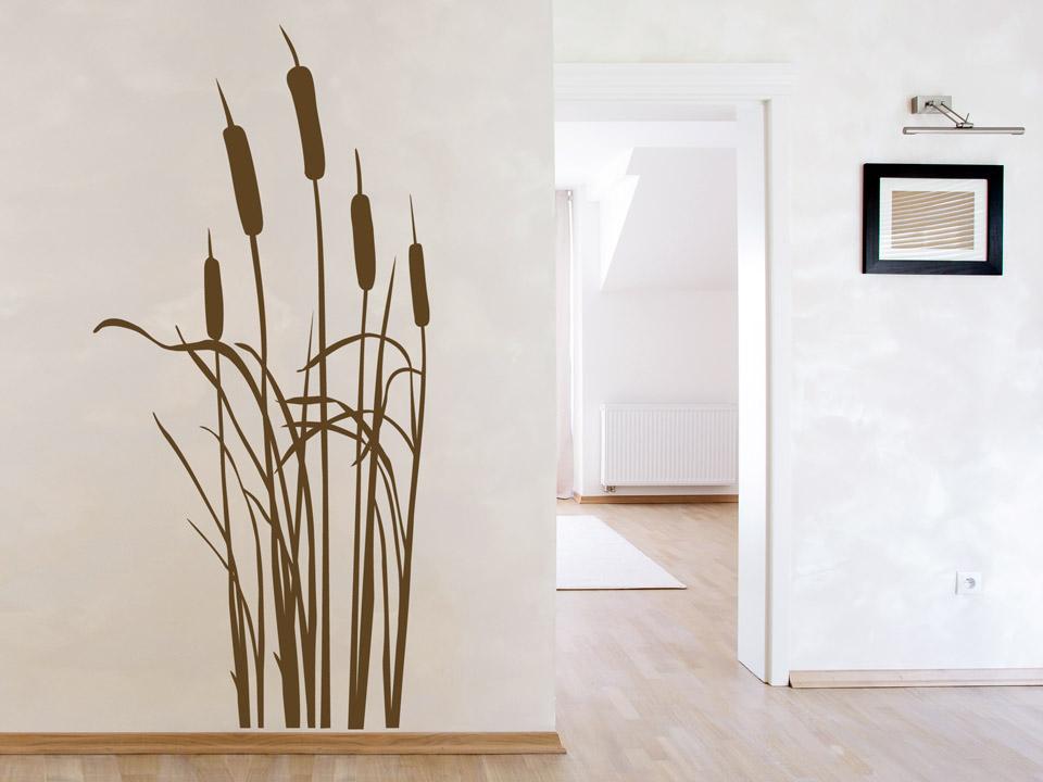 Schilf Seegras Röhricht Wall Art Design Sticker Wandtattoo Aufkleber  58 x 145cm