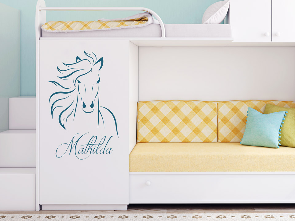 wandtattoo pferdekopf mit name f rs kinderzimmer. Black Bedroom Furniture Sets. Home Design Ideas