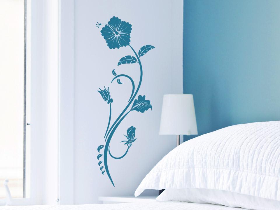 Hawaiiblume wandtattoo hibiskus bl te - Blaue wand schlafzimmer ...