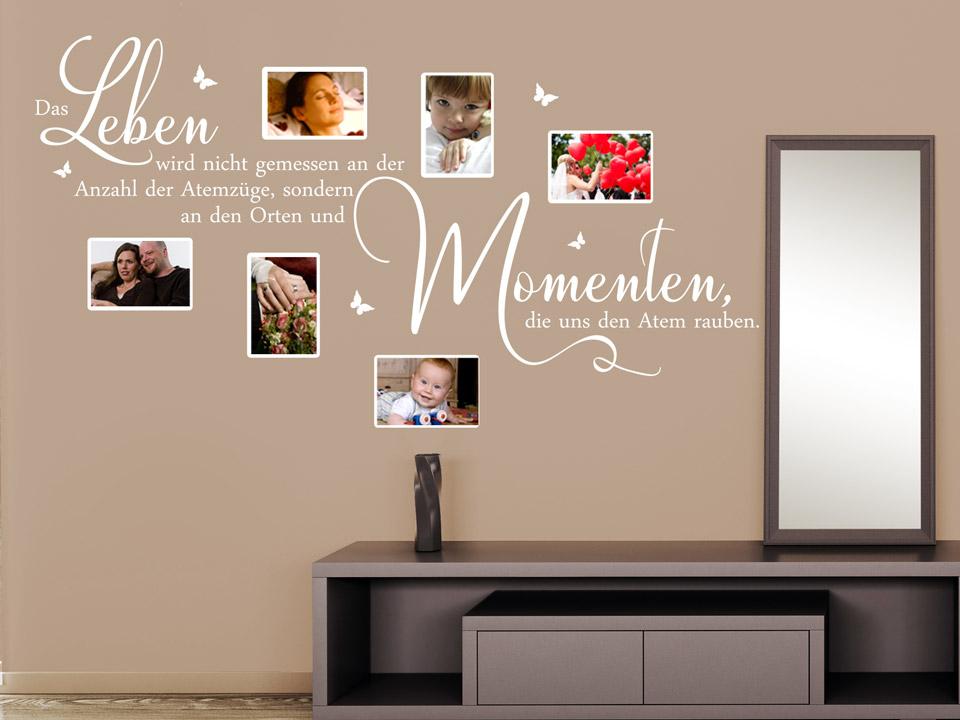 wandtattoo fotorahmen spruch leben atemz ge momente. Black Bedroom Furniture Sets. Home Design Ideas