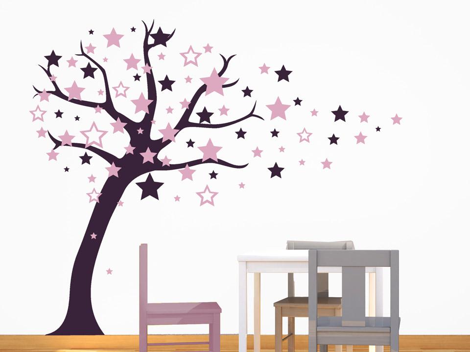Beautiful Wandtattoo Baum Mit Fliegenden Sternen