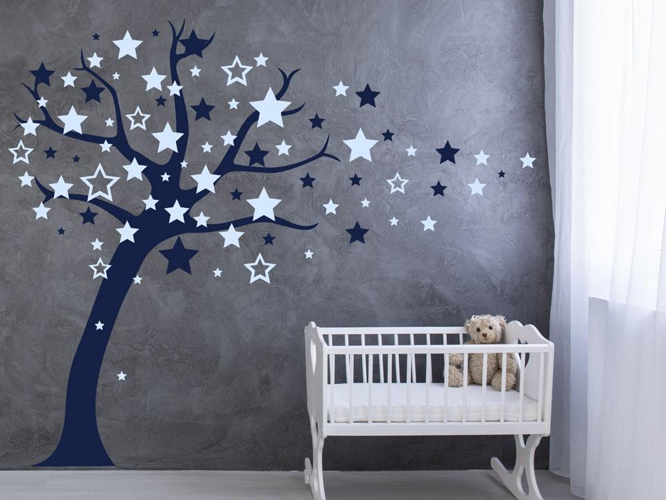 Kinderzimmer sterne  Wandtattoo Baum mit fliegenden Sternen | Wandtattoo.com