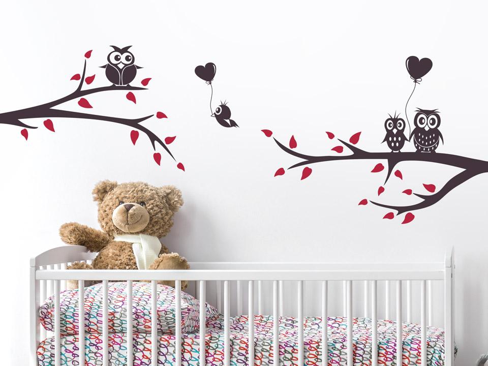 Wandtattoo Zweige mit Eulen für Baby & Kind | Wandtattoo.com
