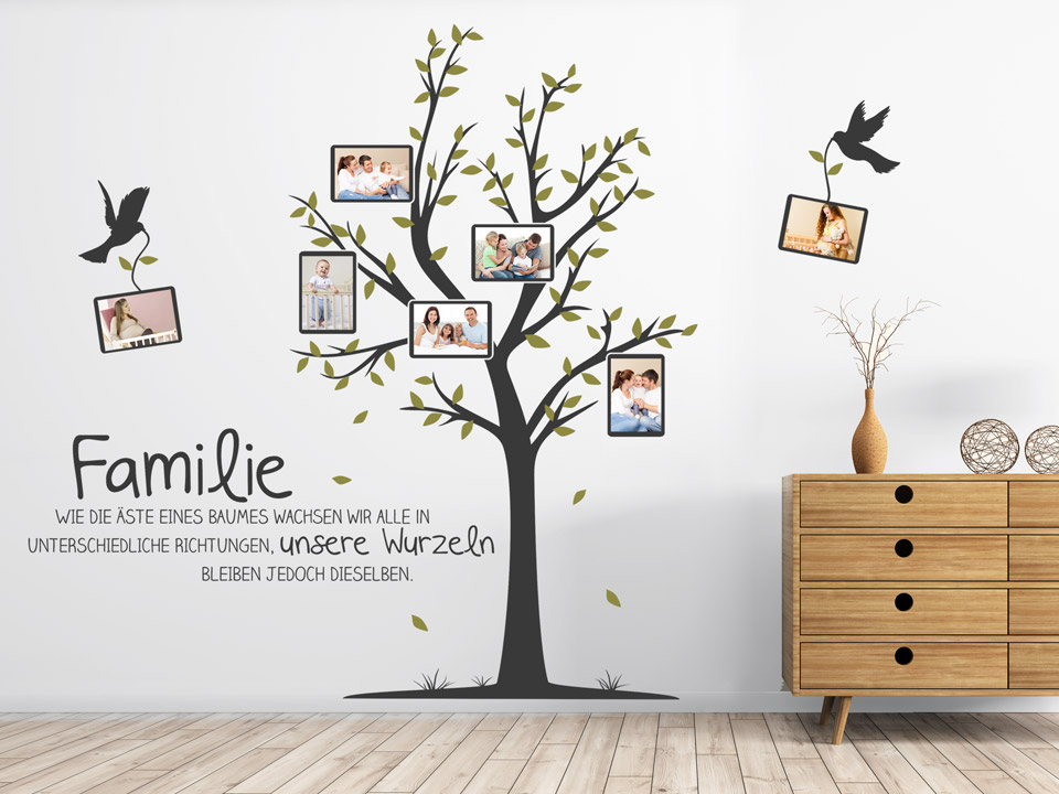 wandtattoo baum mit familienfotos und spruch. Black Bedroom Furniture Sets. Home Design Ideas