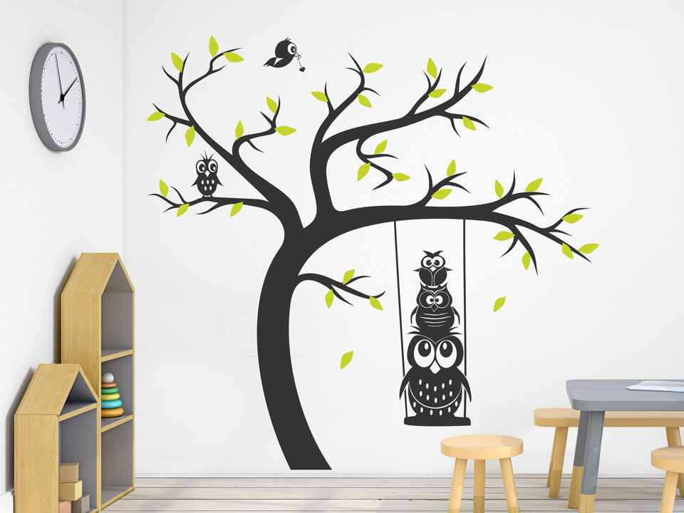 wandtattoo baum mit eulen auf der schaukel. Black Bedroom Furniture Sets. Home Design Ideas