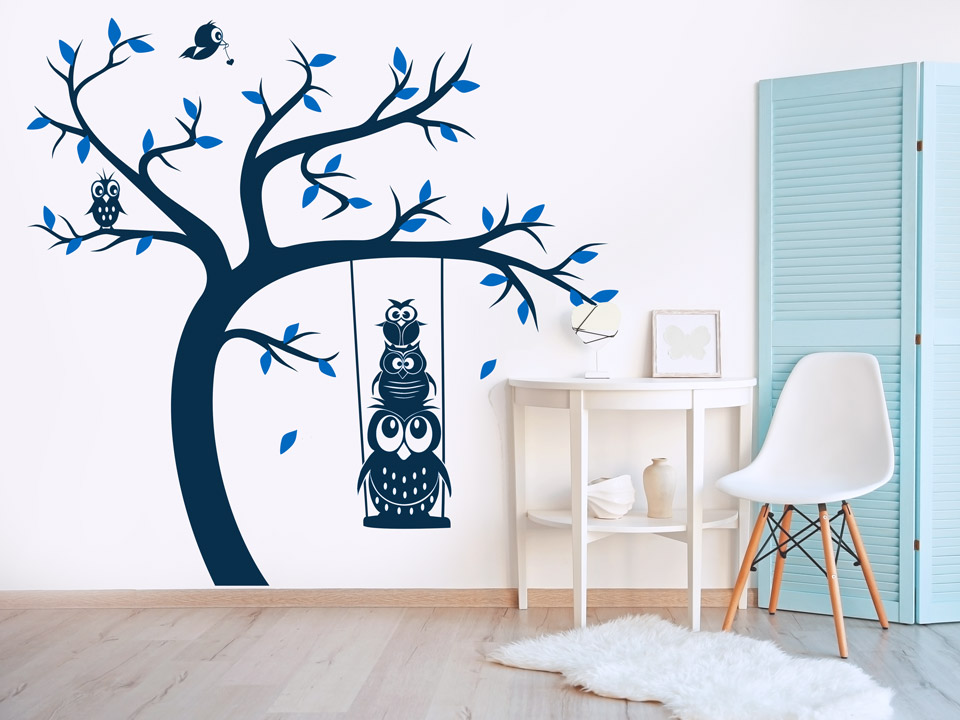 wandtattoo baum mit eulen auf der schaukel wandtattoo com. Black Bedroom Furniture Sets. Home Design Ideas