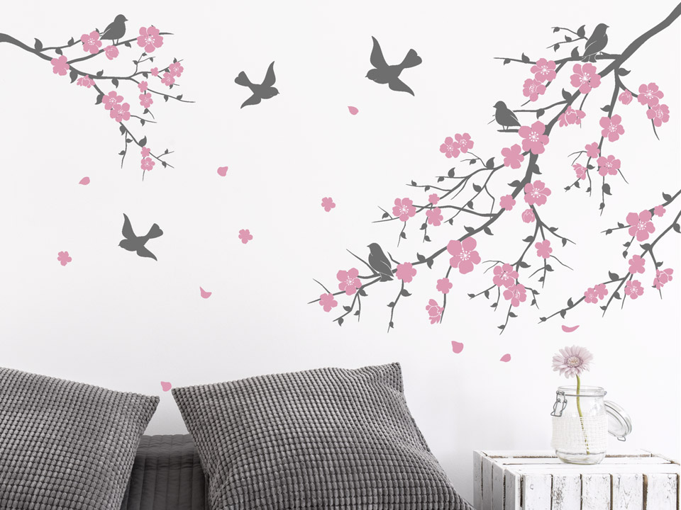 wandtattoo kirschbl tenzweige. Black Bedroom Furniture Sets. Home Design Ideas