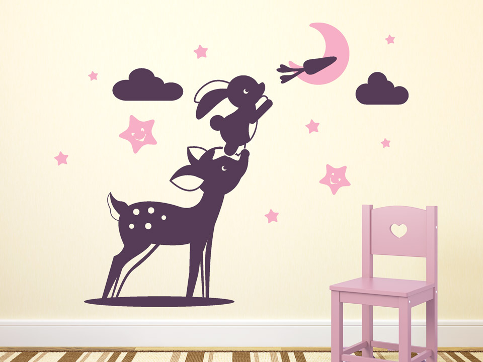 wandtattoo rehkitz mit hase f r babyzimmer. Black Bedroom Furniture Sets. Home Design Ideas