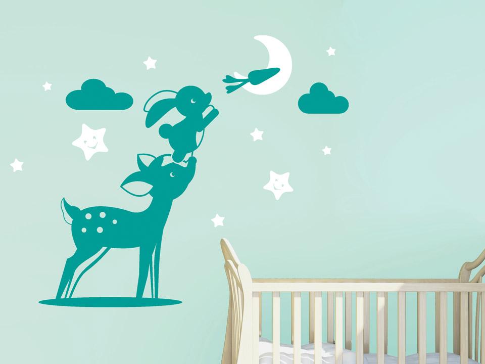 wandtattoo rehkitz mit hase für babyzimmer   wandtattoo.com - Wandtattoos Trkis