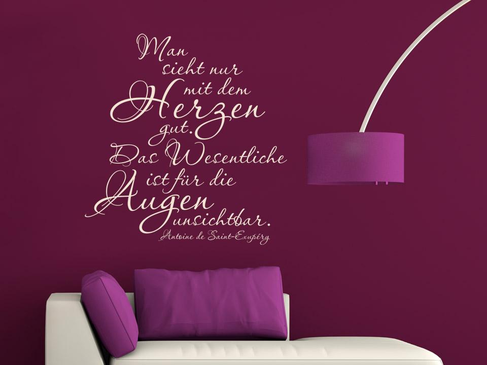 wandtattoo man sieht nur mit dem herzen gut das wesentliche ist f r die augen unsichtbar. Black Bedroom Furniture Sets. Home Design Ideas