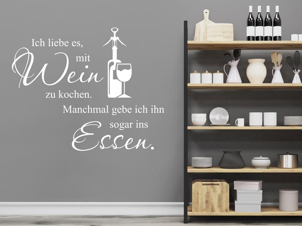 Wandtattoo Ich liebe es, mit Wein zu kochen...   Wandtattoo.com