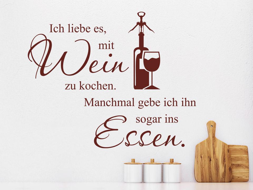Wandtattoo Ich Liebe Es Mit Wein Zu Kochen Wandtattoo Com