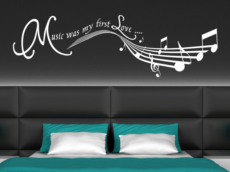 wandtattoo music was my first love wanddekor. Black Bedroom Furniture Sets. Home Design Ideas