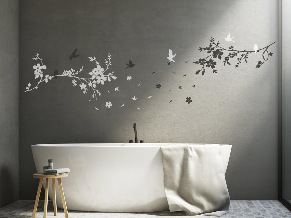 wandtatoo kirschbaumzweige mit bl ten. Black Bedroom Furniture Sets. Home Design Ideas